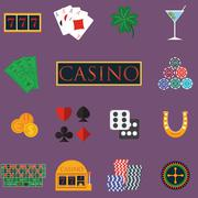 Casino and gambling icons set with slot machine and roulette, chips, poker ca Piirros