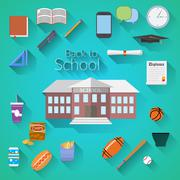 Back to School Flat design modern vector illustration, school building, pen,  Stock Illustration