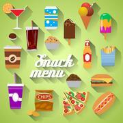 Snack Menu Flat design modern vector illustration of food, drink, coffee, ham Stock Illustration
