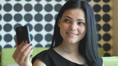 Young attractive woman making selfie photo Stock Footage