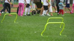 Group of Children Lined up on a Lawn of Stadium of Olympic Sports School No2 Stock Footage