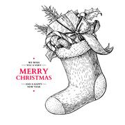 Christmas sock with holly, mistletoe, fir tree, candy and gift. Stock Illustration