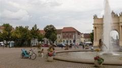 Real time pan establishing shot of The Brandenburg Gate in Potsdam Stock Footage