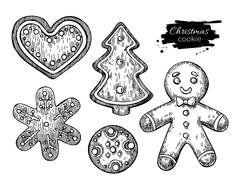 Gingerbread Christmas cookies decorated with icing. Hand drawn v Stock Illustration