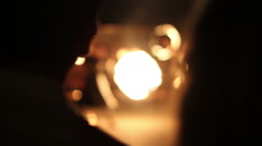 Fire show defocused. Performance in the night Stock Footage