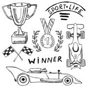 Sport auto items doodles elements. Hand drawn set with Flag icon. Checkered o Stock Illustration