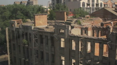 Panorama of the destroyed house Stock Footage