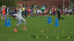 A Big Group of children Has Come on a Stadium of Olympic Sports School No2 Stock Footage