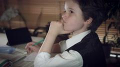 4K Hi-Tech Shot of a Child Doing Homework Thinking and He Got an Idea Stock Footage