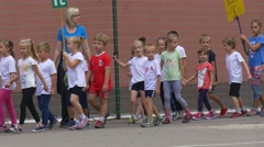 Teachers of Physical Training Accompany Pupils Stock Footage