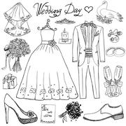 Wedding day elements. Hand drawn set with flowers candle bride dress and tuxe Stock Illustration