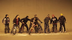 A group portrait of young men with their BMX bicycles. Stock Footage