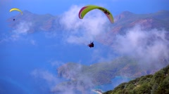 Oludeniz Turkey Paragliders Stock Footage