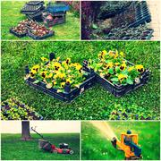 Collage of gardening images - lawn mower, sprinkler,flowerpots ready for Kuvituskuvat