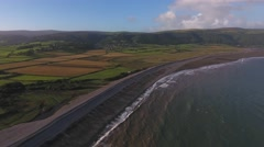 Aerial view of Bossington beach. Stock Footage