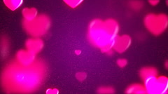 HD Loopable Background with nice purple flying hearts Stock Footage