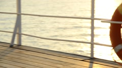 Lifesaver ring on a cruise ship in the Mediterranean, Europe. Stock Footage