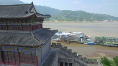 YANGTZE RIVER TEMPLE CRUISE SHIP DRONE AERIAL FLYING OVER CHINA Stock Footage