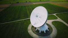 Parabolic satellite communication antenna dish ground station aerial rotating Stock Footage