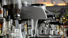 Coffee and espresso details at a bar in a modern hotel. Stock Footage