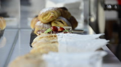 Tapas sandwiches at a bar. Stock Footage