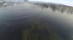 AERIAL: Misty river in winter Stock Footage