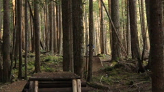 A young man mountain biking on a singletrack wooded trail. Stock Footage