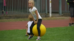 Girl Makes Warm-Up Before Beginning Competitions Stock Footage