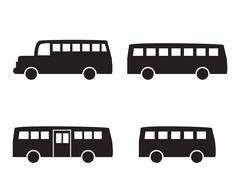 Set of big bus icons in simple silhouette style Stock Illustration