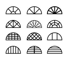 Window frame in semicircle shape, vector Stock Illustration