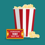 Ticket and pop corn of carnival design Piirros