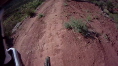 POV of a mountain biker riding on a singletrack trail. Stock Footage