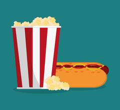 Pop corn and hot dog of carnival design Piirros