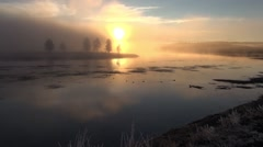 Yellowstone river daybreak Stock Footage
