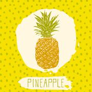 Pineapple hand drawn sketched fruit with leaf on blue background with dots pa Stock Illustration