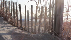 Tracking detail shot of a beach sand fence and tall grass. Stock Footage