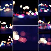Collage of Night city street lights Bokeh background, set of colorized images Stock Photos