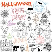 Sketch of halloween design elements with punpkin, witch, black cat, ghost, sk Stock Illustration