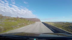 Time-lapse hyperlapse of a car driving through oldersfjord, towards honningsv Stock Footage