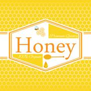 Honey label template for honey logo products with bee and drop of honey on Ho Stock Illustration