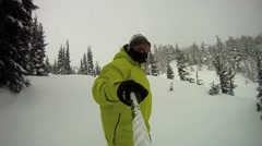 POV of a snowboarder carving a mountain in winter. Stock Footage