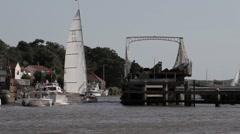 Sailing & motor cruisers at Reedham Stock Footage