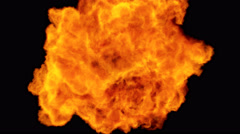 High Speed Fire ball explosion towards to camera, cross frame ahead transition Stock Footage