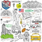 New York city doodles elements. Hand drawn set with, taxi, coffee, hotdog, st Piirros