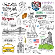 New York city doodles elements. Hand drawn set with, taxi, coffee, hotdog, bu Piirros
