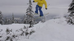 A skier doing a jumping trick, slow motion. Stock Footage