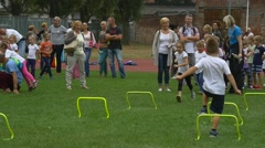 Children Take Part in a Sports Competition Between Pupils of Initial Classes Stock Footage