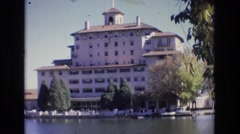 1967: hotel on a scenic lake COLORADO SPRINGS BROADMOR Stock Footage