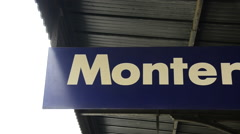 Sign for Monterosso al Mare in the Cinque Terre region of Liguria, Italy Stock Footage