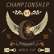 T-shirt Printing design, typography graphics, Speedway championship word cup  Stock Illustration